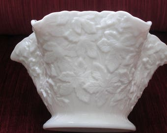Westmoreland Milk Glass Bramble/Maple Leaf Fluted Centerpiece Bowl  #17204