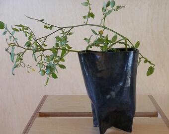 Indigo  Stoneware Pitcher Vase