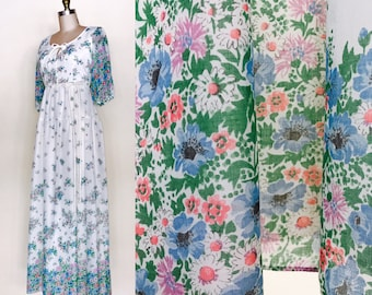 Flowers from Heaven Maxi | Vintage 1970s cotton floral dress | size small