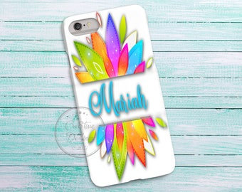 Watercolor Flower Blooms, 3D Phone Case, Iphone 6 7 7+ Samsung Galaxy S5 Thin Hard Case, Personalize with Name or Text, Mobile Full Wrap