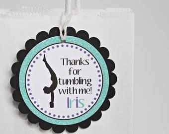 Gymnastics Goody Bag Tags - Gymnastics Party Favor Tags - Gymnastics Party Bag Tags