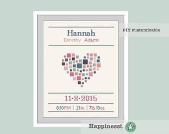 cross stitch baby birth sampler, birth announcement, heart, geometric heart, baby girl, DIY customizable pattern** instant download**