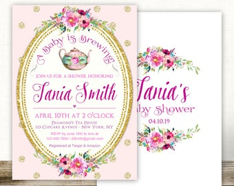 Baby Shower Tea Party Invitation, Baby Shower Tea Invite, A Baby is Brewing Invitation, Tea Party Baby Shower Invitations, Baby Tea Invites