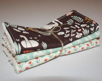 Maxi wipes/Washcloths washable organic cotton Beanie, hand-made Kumoandfriends