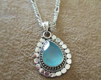 Silver Necklace and Earring Set made with Genuine Aqua Chalcedony
