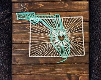 Nail string art etsy string art state string art wood sign wedding sign wall art prinsesfo Images