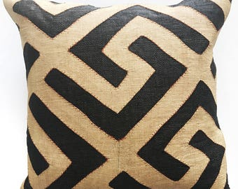 """African Kuba Cloth, Pillow Cover 20"""" Square Case"""
