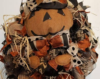 Halloween Jack O' Lantern Wreath, Halloween Wreath, Primitive Halloween Wreath, Scarecrow Wreath, Door Decor, Scarecrow Decor, Scarecrow