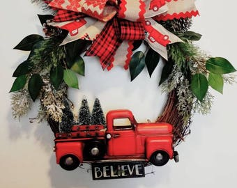 Christmas Wreath, Red Truck Christmas Wreath, Red Truck Decor, Door Decor, Red Truck Wreath, Grapevine Wreath, Nostalgic decor, Truck decor