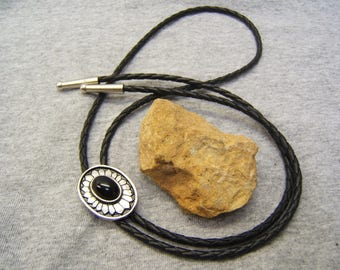 Gift Idea, BOLO TIES, Wedding Tie, Bolo Ties for Men, Womens Necklaces, Mens Ties, Western Wear, pewter, black stone, #1084B-8C