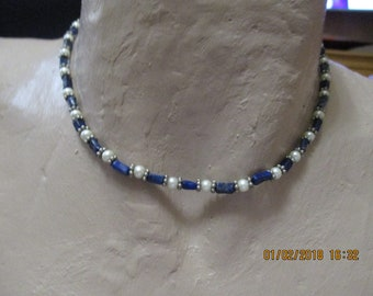 """vintage 15"""" choker necklace in blue/silver/faux pearl with barrel clasp"""