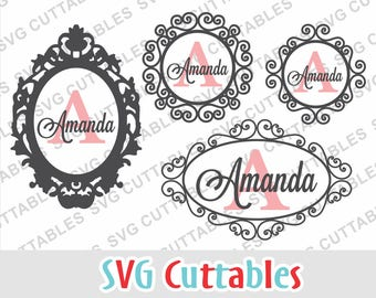 Picture Frame SVG, Monogram Frame svg, Wall decal svg, frame svg, frame dxf, eps, Silhouette file, Cricut file, Digital download