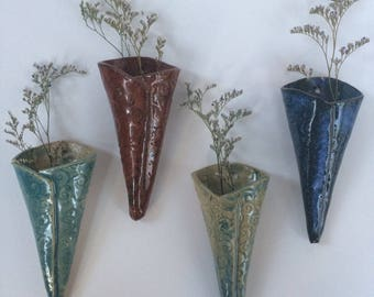 Pottery wall sconce, pottery flower pocket, pottery wall hanging, wall decor, wall vase