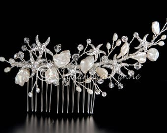 Beach Wedding Bridal Hair Comb Starfish Freshwater Pearls Silver Crystal Beads Clip Accessories