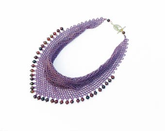 "Scarf-beaded necklace ""Aphrodita"" headscarf, neckerchief, bib necklace, purple necklace, statement necklace, beaded necklace"