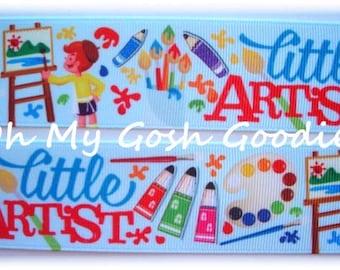 "LITTLE ARTIST PALETTE Grosgrain Ribbon 1.5""  - 5 Yards - Oh My Gosh Goodies Ribbon"