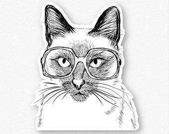 Sasha the Siamese Vinyl Decal Sticker - Gift For Cat Owner, Cat Sticker, Cool Cat, Cat Laptop Sticker, Cat decal, Sasha cat decal
