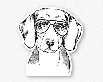 Jake the Beagle Vinyl Decal Sticker - Gifts For Dog Owner, Dachshund Lover, Beagle Dog Art, Beagle Wall Art, Beagle Decal