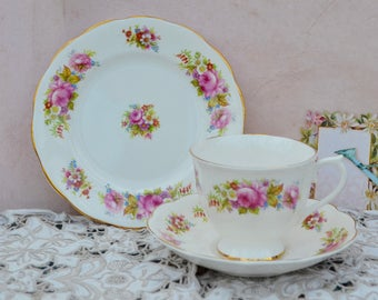 Royal Chatsworth vintage English Bone China Trio - Tea Cup, Saucer, Tea Plate, Pink Roses and Gilt, Rare, VGC, First Quality