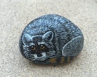 Raccoon Painted Rock, Wildlife Art, Raccoon Painting, Hand Painted Raccoon, Stone Painted, For Him, For Her, MelidasArt