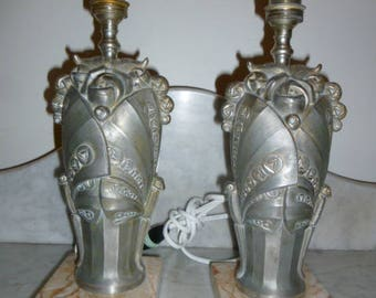 French Art Deco pair of silvered spelter and marble vase table lamps by LIMOUSIN circa 1920s
