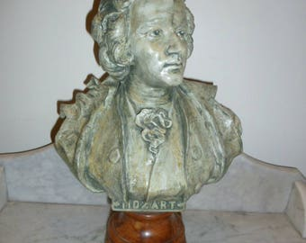 Antique spelter marble bust sculpture of MOZART signed circa 1890