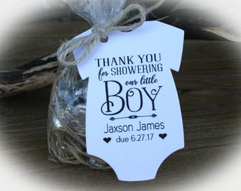 Boy Baby Shower Favor Tags or Kits | 3 Tag Colors | Boy Baby Shower- Tags ONLY or kits with Bags & Twine | Baby shower Favors