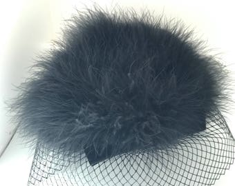 Vintage 60's  MOD Veiled Feather Hat