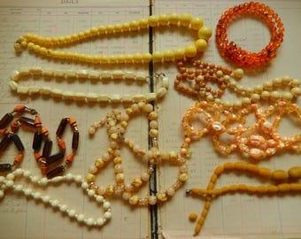 9 PIece Vintage Junk Jewelry Fun Orange Yellow Cream Plastic Bead Necklace Destash Lot