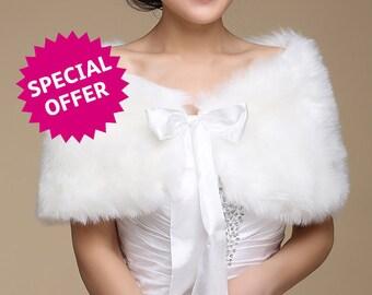White faux Fur Wrap with Ribbon - Wedding, Bridal, Bridesmaid, Formal, Date Night