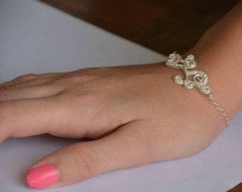 Sterling silver filigree bracelet, bridal silver bracelet, delicate bracelet in vintage, antique silver bracelet, bridal bracelet in silver