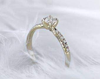 0.5 Carat Ring, 14K Yellow Gold Diamond Engagement Ring, Round Brilliant Diamond, Side Stone Ring, Yellow Gold Ring, Round Diamond,Pave Ring