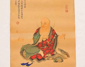 N4599 Hand Painted Tibetan Buddhism Kraft Thangka -  Arhat