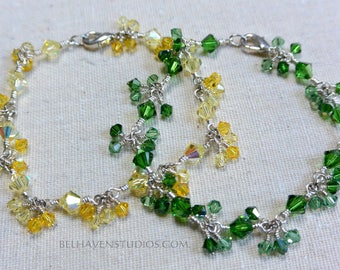 Swarovski crystals Dark moss green Chysolite or Jonquil (Yellow) Topaz beads silver beaded bracelet Casual Dressy Special occasion