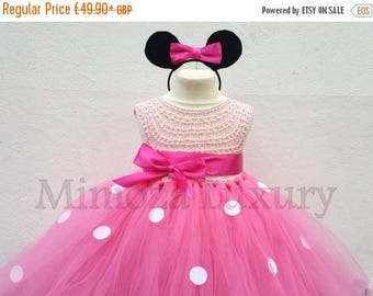 SALE Minnie mouse dress minnie mouse birthday dress Flower girl dress pink  tutu dress mickey mouse princess dress pink crochet top tulle dr