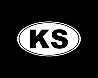 Kansas KS Oval Vinyl Decal Sticker KS Bumper Sticker Yeti Tumbler Laptop Phone etc..