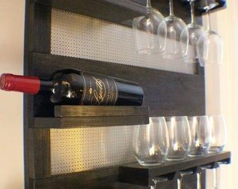 wall mount wine rack etsy. Black Bedroom Furniture Sets. Home Design Ideas