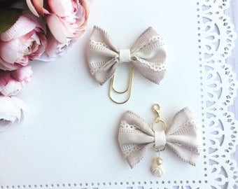 Ivory Rose Lace Traveler's Notebook Planner Bow Charm and Bow Paperclip
