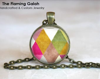 PINK GEOMETRIC Pendant •  Modern Pattern •  Pink Tones •  Pink Boho Style • Gift Under 20 • Made in Australia (P1385)