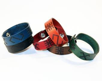 Leather bracelet with Baltic signs. Leather bracelet with ancient Latvian ornament. Leather wrist band.