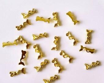 Gold Mermaid nail charms, nail jewels, nail jewelry, nail decoration, nail gems for nail art or craft- 4Pcs