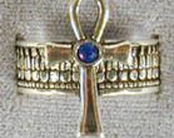 Cross Ring With Blue Stone