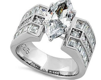 Engagement Ring Sterling Silver 925 CZ Marquise Cut Modern