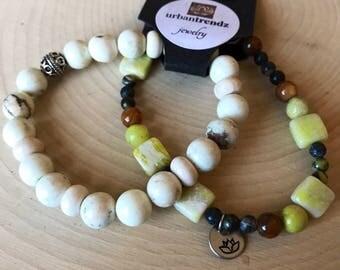 Howlite Lotus Bracelet