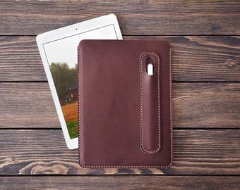 iPad Pro 10.5 inch leather cover. iPad Pro and Apple Pen holder. iPad leather case. Dark brown color.