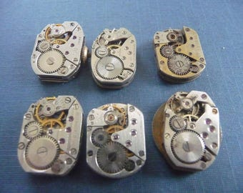 Set of 6 antique watch movement Steampunk crafting  Lot 106