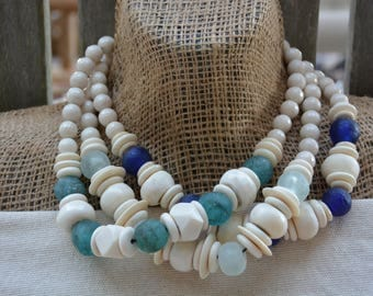 Shades of Blue Statement Necklaces | African Glass Trade Beads | BOHO Necklace | Statement Necklace