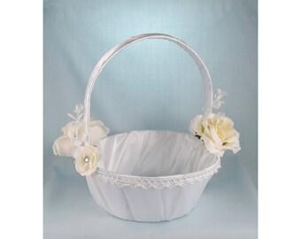 Flower Girl Basket - Ivory Roses
