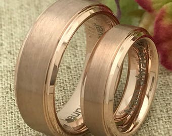 His & Hers Wedding Ring Set, Personalize Custom Engraved Rose Gold Plated Tungsten Ring, Wedding Rings, Promise Ring, Couples Ring DOJTCR320