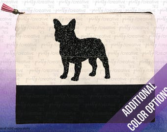 French Bulldog Dog Two Tone Makeup/Travel Cosmetic Bag with Black Canvas Trim -  Black, Silver or Gold Glitter